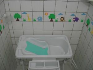 Cantinho de banho da Mirela preparado com muito carinho para um banho bem alegre...